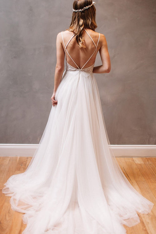 81477896803 lace-tulle-beach-casual-wedding-dress-with-strappy-