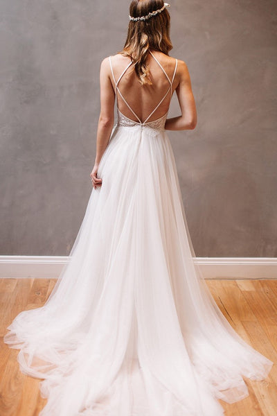 06e4731d504 Lace Tulle Beach Casual Wedding Dress with Strappy Back Detail ...