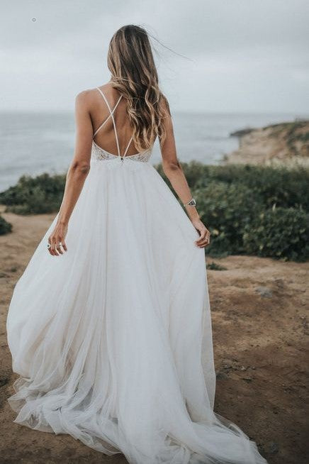 lace-tulle-beach-wedding-dress-with-strappy-back