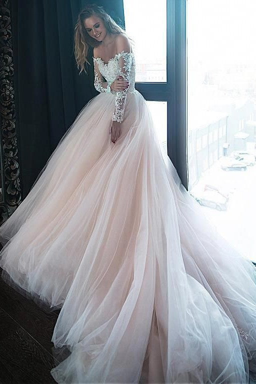 1f1fef9f5611 Lace Tulle Blush Pink Wedding Dresses with Off-the-shoulder Long Sleeves