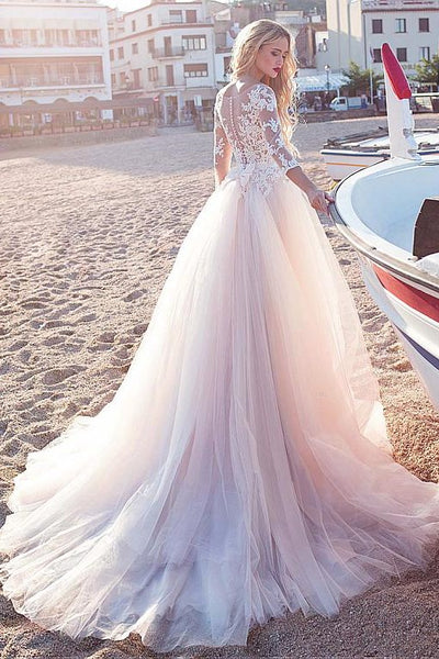 lace-tulle-skirt-wedding-dresses-with-illusion-neckline-1