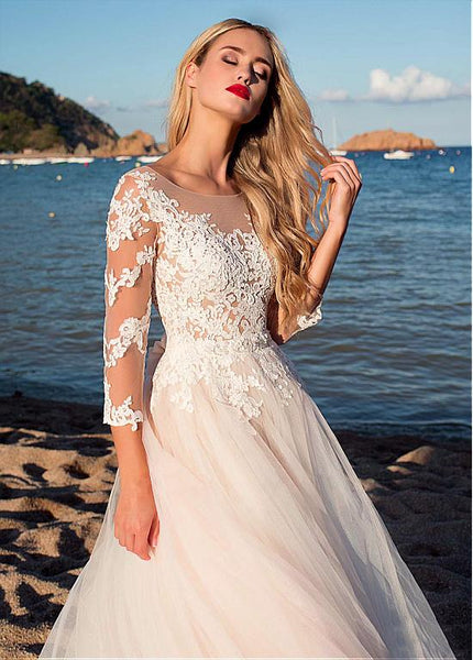 lace-tulle-skirt-wedding-dresses-with-illusion-neckline-2