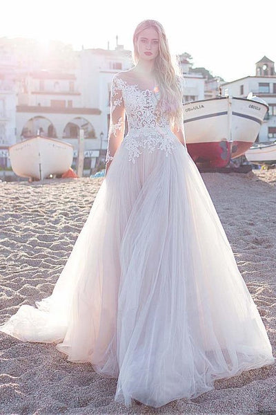 lace-tulle-skirt-wedding-dresses-with-illusion-neckline