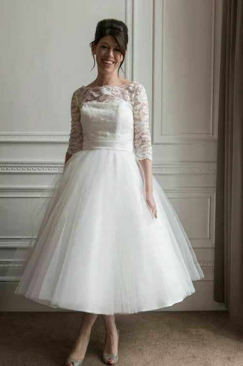 lace-tulle-tea-length-wedding-dresses-with-sleeves