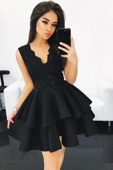 lace-v-neck-bodice-black-homecoming-gown-with-tiered-skirt