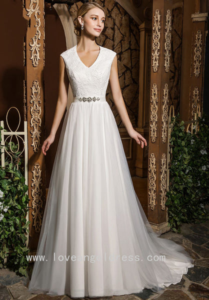 lace-v-neckline-modest-a-line-wedding-dress-with-stones-belt
