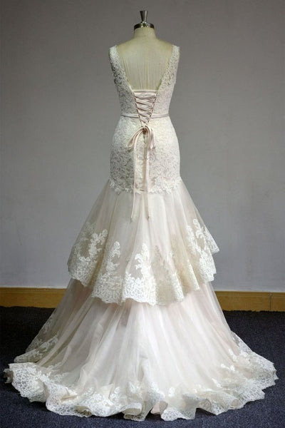 lace-v-neckline-wedding-dress-with-two-layers-tulle-skirt-1