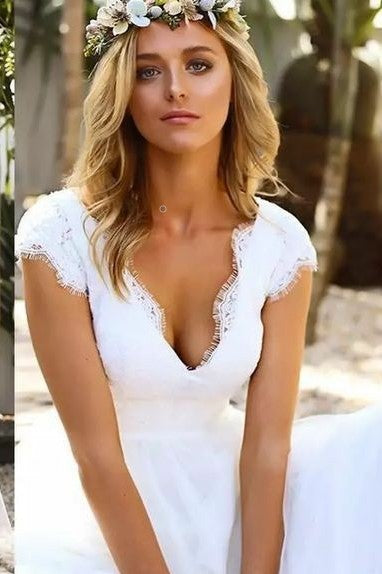 lace-v-neckline-white-wedding-dresses-ankle-length-1