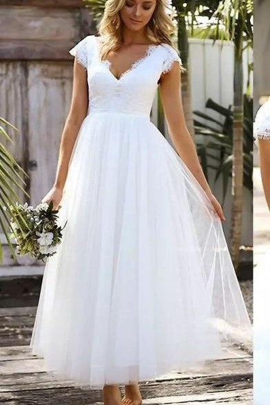 lace-v-neckline-white-wedding-dresses-ankle-length