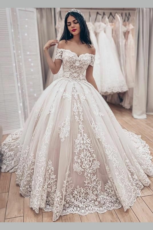 Discount Lavish Lace Wedding Ball Gown Dress With Off The