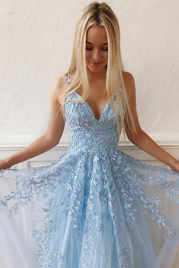 light-blue-floral-lace-prom-dresses-tulle-skirt-v-neckline-1