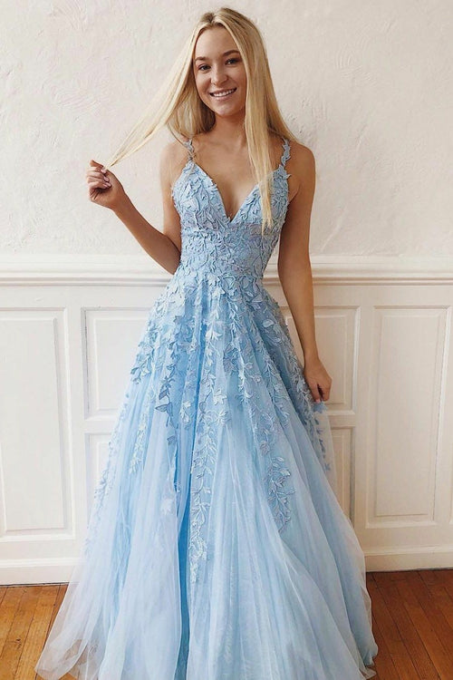 light-blue-floral-lace-prom-dresses-tulle-skirt-v-neckline