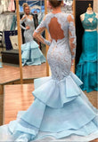 light-blue-lace-mermaid-long-sleeves-prom-dresses-with-tiered-skirt-1