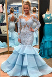 light-blue-lace-mermaid-long-sleeves-prom-dresses-with-tiered-skirt