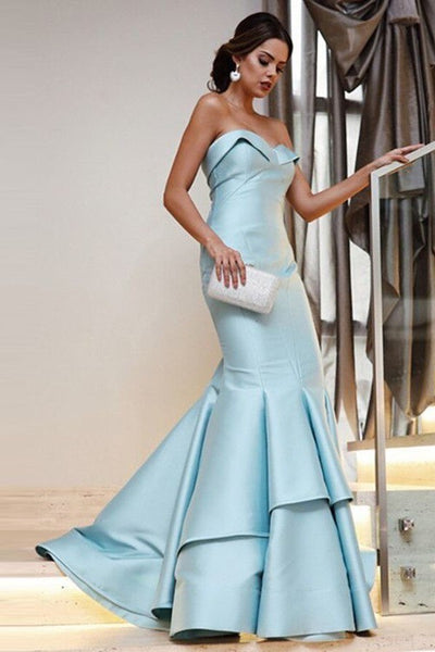 412cc1949e4 ... Light-blue Mermaid Style Evening Dresses with Fold Strapless ...