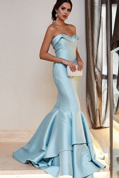 light-blue-mermaid-style-evening-dresses-with-fold-strapless