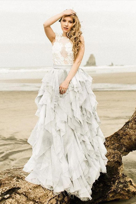 Lace Two-piece Wedding Gown with Organza High-low Skirt