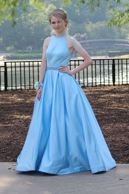 light-blue-satin-a-line-evening-dresses-with-beaded-belt-sash