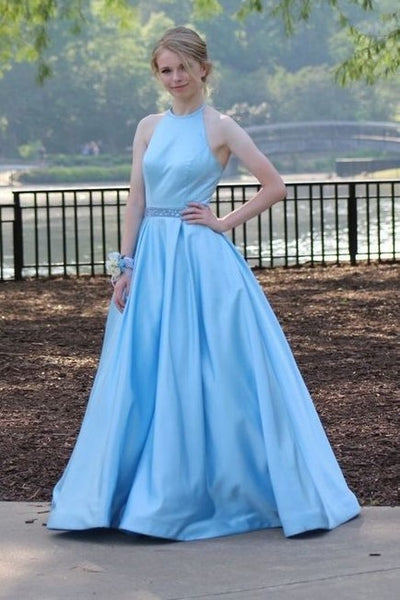 a10525fdb8 Light Blue Satin A-line Evening Dresses with Beaded Belt Sash –  loveangeldress