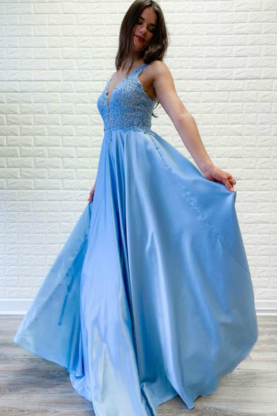 light-blue-satin-prom-dresses-beaded-lace-v-neckline-bodice-2