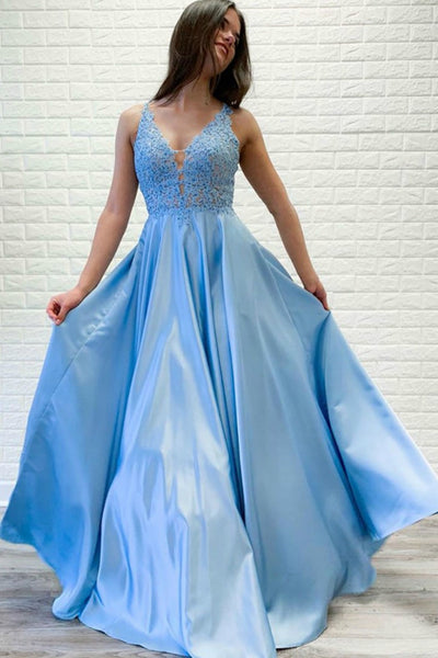 light-blue-satin-prom-dresses-beaded-lace-v-neckline-bodice
