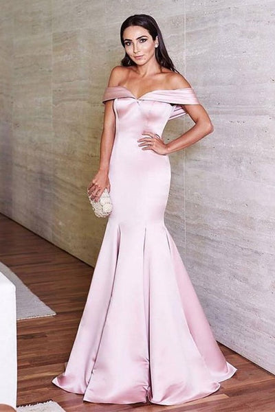 light-pink-mermaid-evening-dress-with-pleated-off-the-shoulder