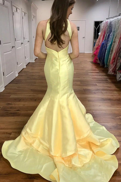 light-yellow-satin-mermaid-evening-gowns-with-tiered-skirt-1