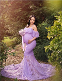 lilac-lace-pregnant-woman-prom-dresses-with-spaghetti-straps-2