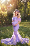 lilac-lace-pregnant-woman-prom-dresses-with-spaghetti-straps