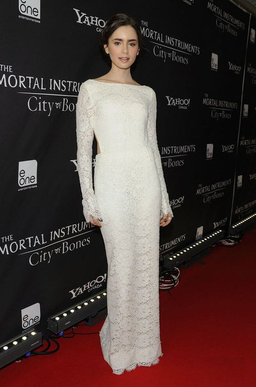 lily-collins-lace-celebrity-dresses-with-long-sleeves