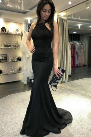 a1d89048c54b Long Black Mermaid Evening Dresses with Beaded Halter Neckline –  loveangeldress
