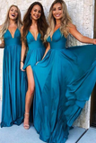 long-boho-style-bridesmaid-gown-teal-blue-chiffon-skirt
