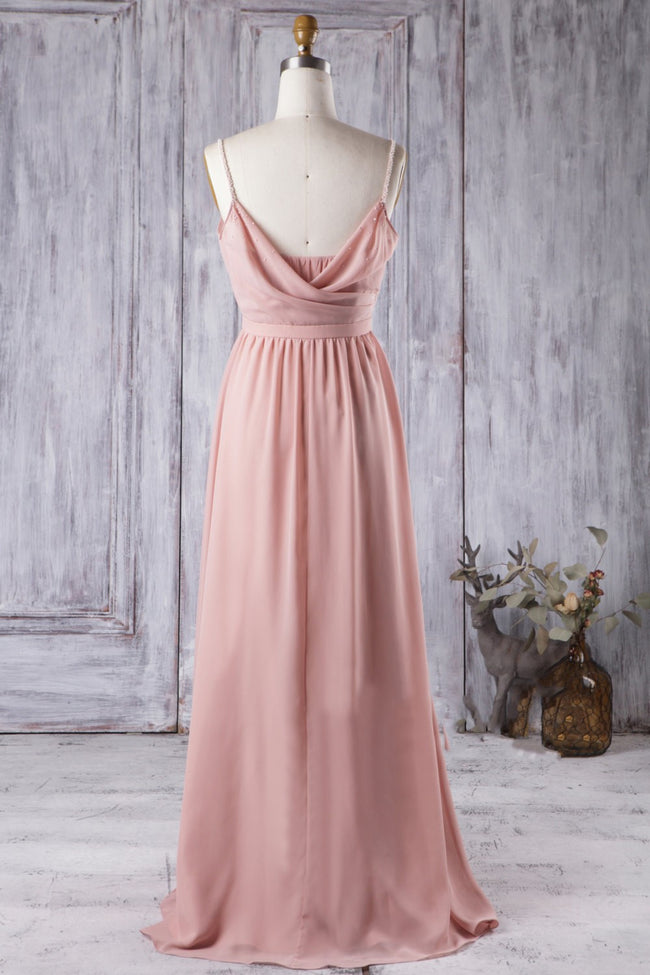 long-chiffon-coral-bridesmaid-dresses-with-draped-neckline-1