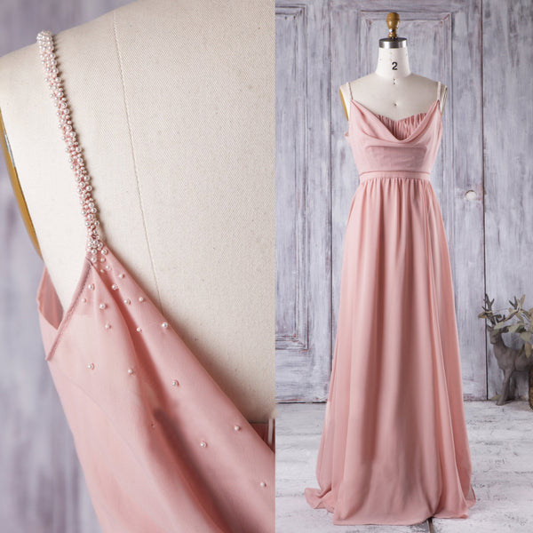 long-chiffon-coral-bridesmaid-dresses-with-draped-neckline-2