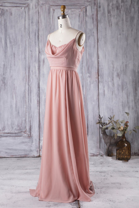 Chiffon Long Pink Bridesmaid Dresses with Lace Bodice