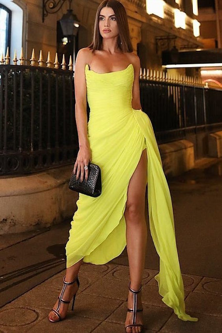 V-neckline Yellow Satin Long Prom Dresses with Pockets