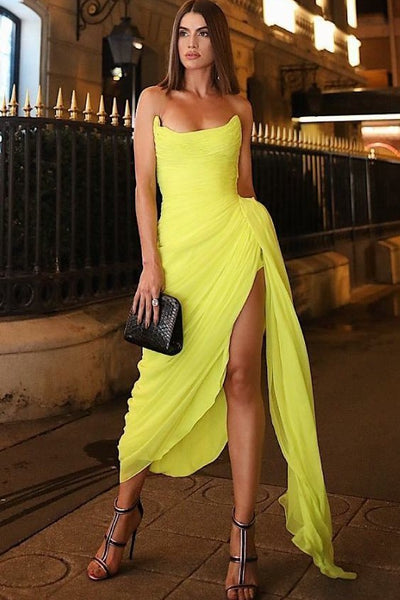 1f528fdaed Long Chiffon Yellow Prom Dresses with Irregular Skirt – loveangeldress