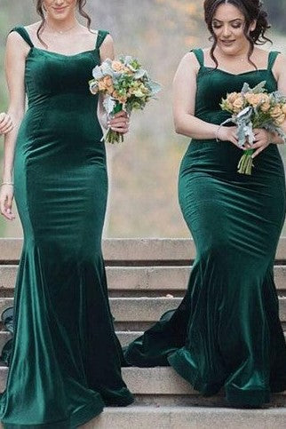 fashion styles top-rated cheap Super discount Long Dark Green Velvet Bridesmaid Dresses with Double Straps
