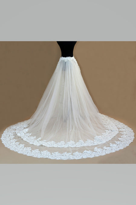 Multi-layered Ruffles Tulle Wedding Skirt Removable Train for Dress