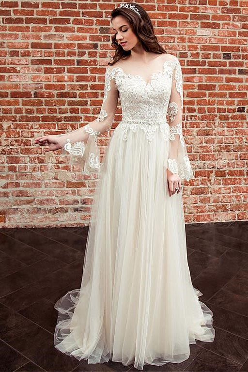 251c872da9bc8 Long Lace Sleeves Bride Dresses with See-through Neckline ...