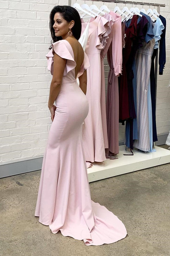 long-light-pink-bridesmaid-dresses-with-flounced-sleeves-1