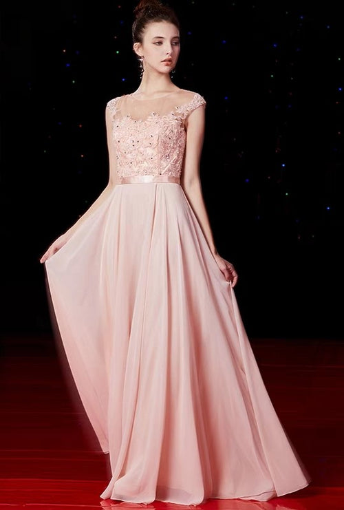 06895c8e82 long-pink-chiffon-evening-gowns-beaded-lace-bodice