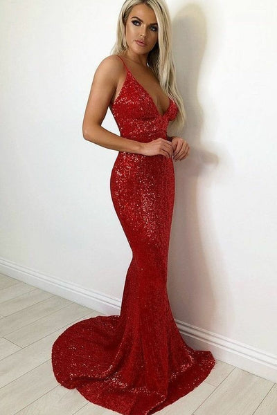 9a9ab4255c2 Long Red Sequin Prom Dress with Deep V neck – loveangeldress