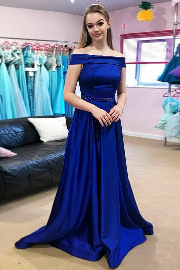 Long Royal Blue Evening Gown with Fold Off-the-shoulder – loveangeldress