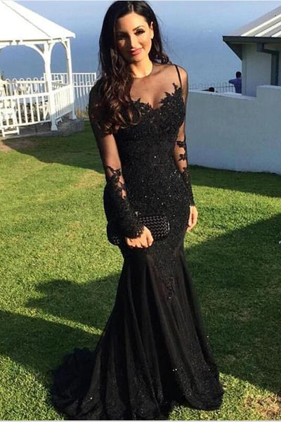 610c97adf2 Long-sleeve Black Lace Evening Dresses with See-through Neckline –  loveangeldress
