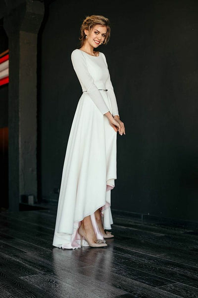 long-sleeved-high-low-wedding-gown-boat-neckline-vestido-de-novia-2