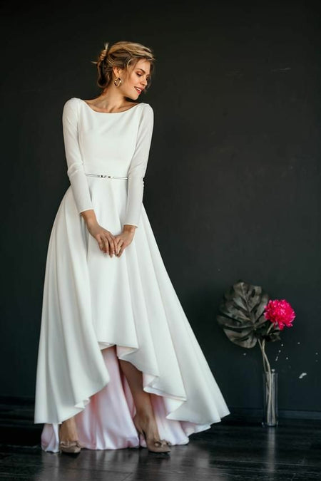 Boat Neck Long Sleeved Ivory Spandex Wedding Gown Simple
