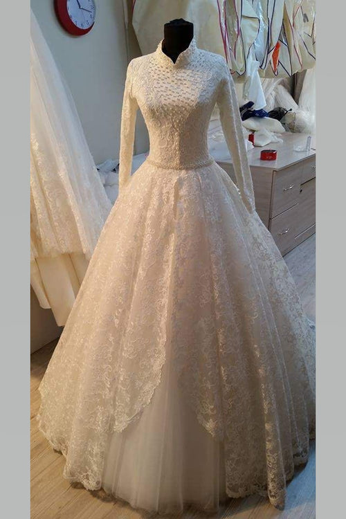 long-sleeved-muslim-high-collar-wedding-gowns-with-lace-pearls