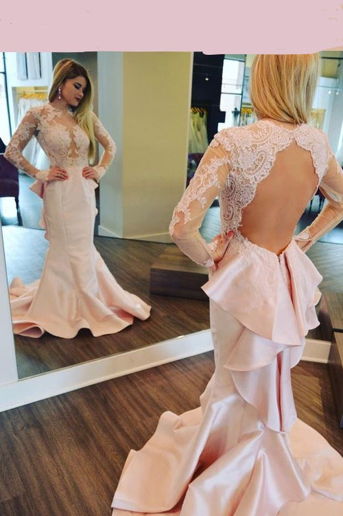 long-sleeved-pink-mermaid-evening-dresses-lace-flounced-skirt