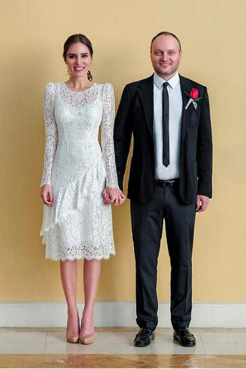 long-sleeves-lace-informal-wedding-dress-tea-length